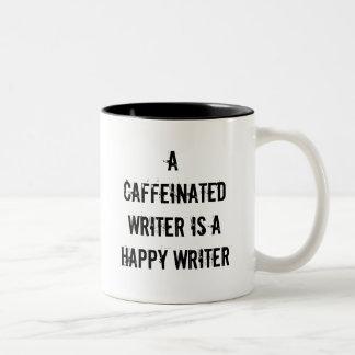 Un escritor de Caffeinated es una taza feliz del e