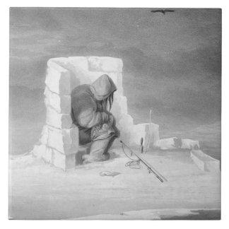 Un Eskimaux que mira un Sello-Agujero, del 'diario Azulejo Cuadrado Grande