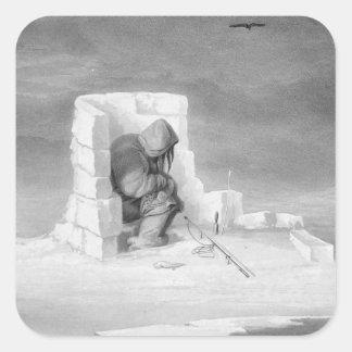Un Eskimaux que mira un Sello-Agujero, del 'diario Pegatina Cuadrada