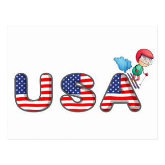 Un esquí del muchacho con el símbolo de los postal