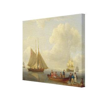 Un esquife que llevaba a pasajeros hacia fuera a d impresión en lienzo