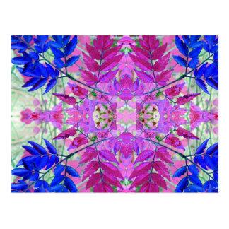 Un estampado de flores azul rosado abstracto tarjetas postales
