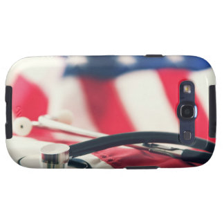 Un estetoscopio médico con una bandera americana samsung galaxy s3 carcasas