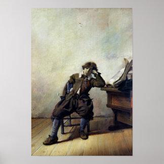 Un estudiante joven en su estudio o, el fumador póster