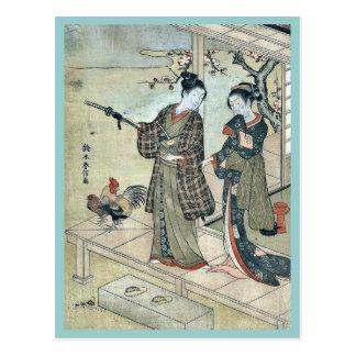 Un excelente joven y una mujer por Suzuki, Harunob Tarjeta Postal