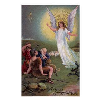 Un feliz ChristmasAngel ante los pastores Póster
