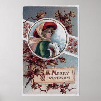 Un feliz ChristmasKid en ropa del invierno Impresiones