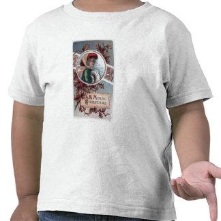 Un feliz ChristmasKid en ropa del invierno Camisetas