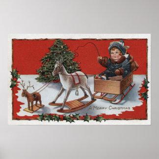 Un feliz ChristmasKid en un trineo del Jabón-Box Poster