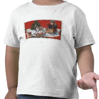 Un feliz ChristmasKid en un trineo del Jabón-Box Camisetas