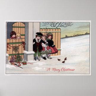 Un feliz ChristmasKids por la cerca Posters