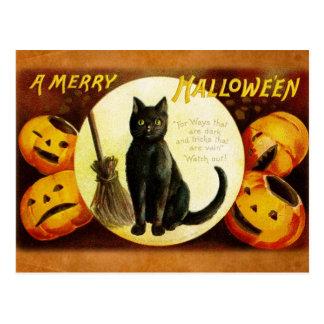Un feliz Halloween del gato negro Postales