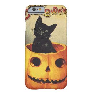 Un feliz Halloween, gato negro del vintage en Funda Para iPhone 6 Barely There