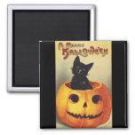 Un feliz Halloween, gato negro del vintage en Imán Cuadrado