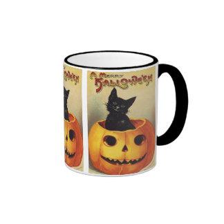Un feliz Halloween, gato negro del vintage en Taza De Dos Colores