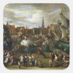 Un festival en Amberes Pegatina Cuadrada