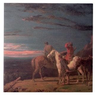 Un fiesta de exploradores, 1851 (aceite en lona) azulejo cuadrado grande