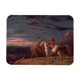 Un fiesta de exploradores, 1851 (aceite en lona) imanes de vinilo