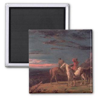 Un fiesta de exploradores, 1851 (aceite en lona) imán cuadrado