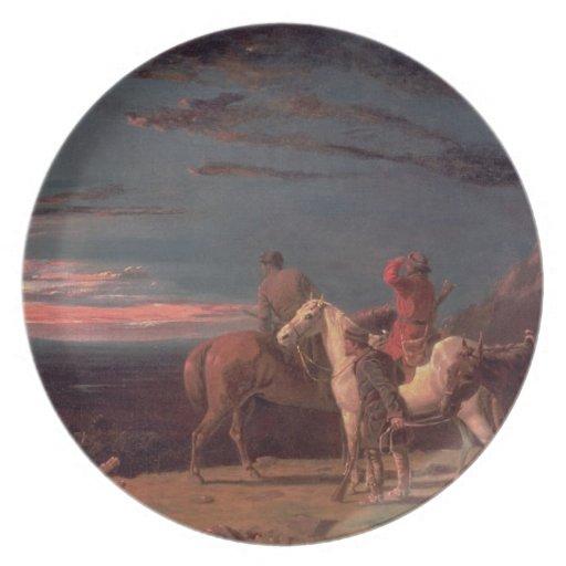 Un fiesta de exploradores, 1851 (aceite en lona) plato