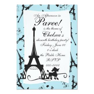 """Un fiesta parisiense invitación 5"""" x 7"""""""