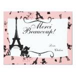 """Un fiesta parisiense le agradece observar en rosa invitación 4.25"""" x 5.5"""""""