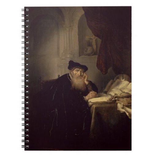 Un filósofo, 1635 (aceite en el panel) libros de apuntes