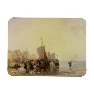 Un Fishmarket cerca de Boulogne, c.1824 (aceite en Imán Foto Rectangular