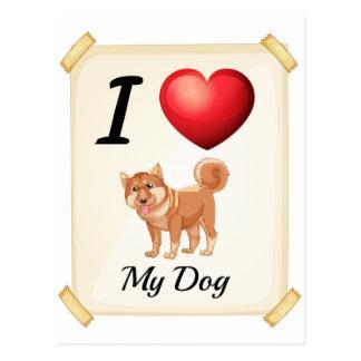Un flashcard que muestra el amor de un perro postal