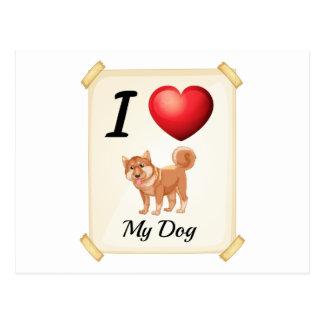 Un flashcard que muestra el amor de un perro tarjetas postales
