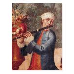 Un flautista, detalle de una pantalla postales
