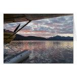 Un floatplane en el lago escénico Takahula Felicitaciones