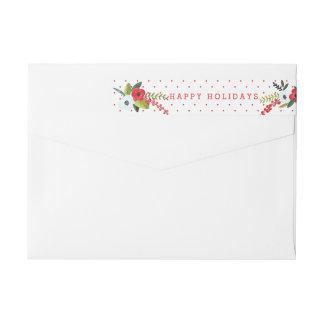 Un floral de las Felices Navidad muy personalizado Etiquetas Postales