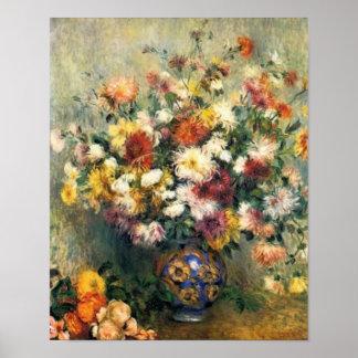 Un florero de Renoir de crisantemos Poster