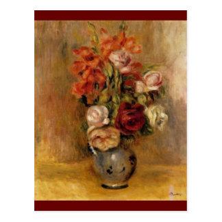 Un florero de Renoir de Gladiolas y de rosas Postales