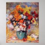 Un florero de Renoir de tulipanes y de anémonas Póster