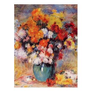 Un florero de Renoir de tulipanes y de anémonas Tarjetas Postales