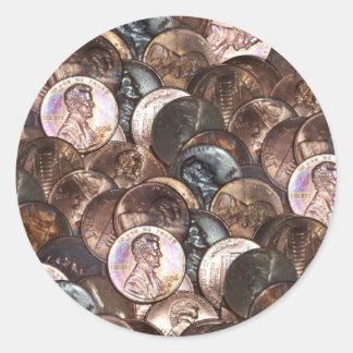 Un fondo de la extensión del penique del centavo pegatina redonda