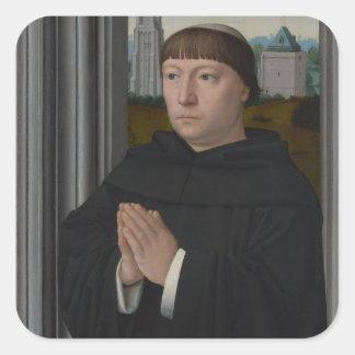Un fraile agustino que ruega por Gerard David Calcomanías Cuadradass