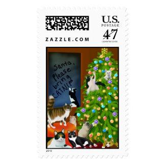 Un franqueo felino del navidad de la familia timbre postal
