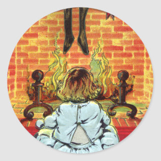 Un fuego caliente el Nochebuena Etiqueta Redonda