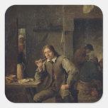 Un fumador que se inclina en una tabla, 1643 calcomanías cuadradas personalizadas