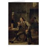Un fumador que se inclina en una tabla, 1643 felicitación