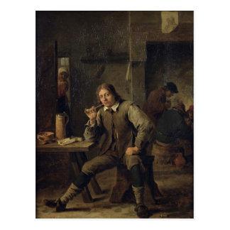 Un fumador que se inclina en una tabla, 1643 postales