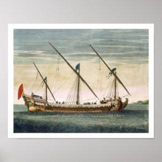 Un Galleass tres-masted en curso por el remo, del  Póster
