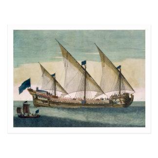 Un Galleass tres-masted en curso por la vela, Postal
