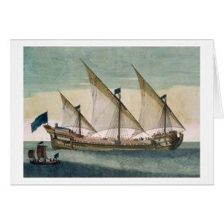 Un Galleass tres-masted en curso por la vela, remo Tarjeta De Felicitación