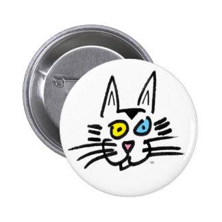 Un gatito de ojos azules pin redondo de 2 pulgadas