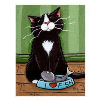 Un gatito feliz - postal del arte del gato