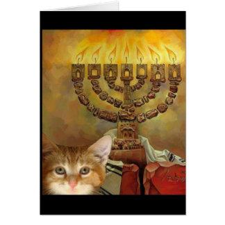 Un gatito y un Menorah Tarjeta De Felicitación